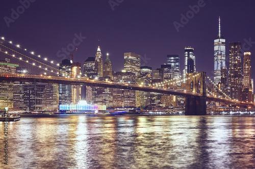 Keuken foto achterwand New York City Brooklyn Bridge and Manhattan at night, color toned picture, New York City, USA.