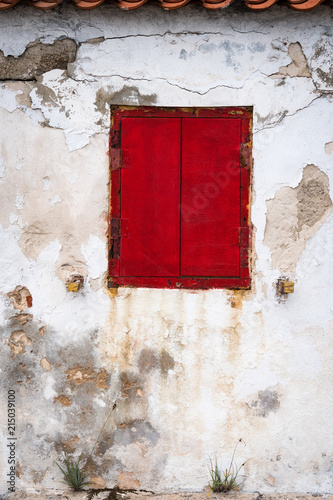 Rusty red shutters on building on the island of Bonaire, Netherlands Antilles Wallpaper Mural