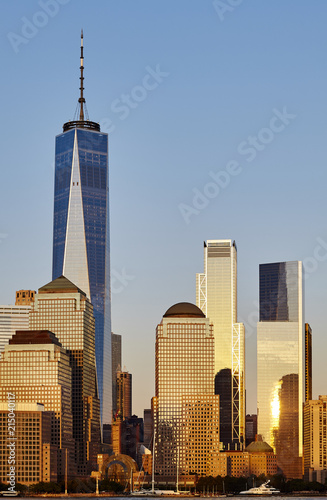 Poster New York City New York City skyline at sunset, USA