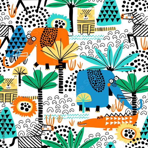 fototapeta na lodówkę Safari animals seamless pattern with cute zebra, funny elephant, dangerous alligator, tiger and tropical plants. Vector texture in childish style great for fabric and textile, wallpapers, backgrounds.