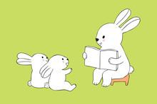 Cartoon Cute Teacher Rabbit An...