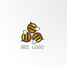 Bee Logo Concept, Abstract  Logo, Sign, Symbol Or Mark For Creativity, Teamwork, Chat, Kids World, And Food Company. Vector Logo Design