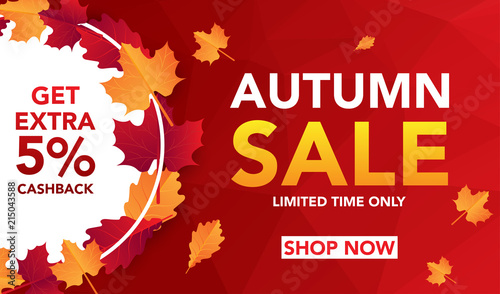 Obraz Autumn sale banner template with leaves, fall leaves for shopping sale. banner design. Poster, card, label, web banner. Vector illustration - fototapety do salonu