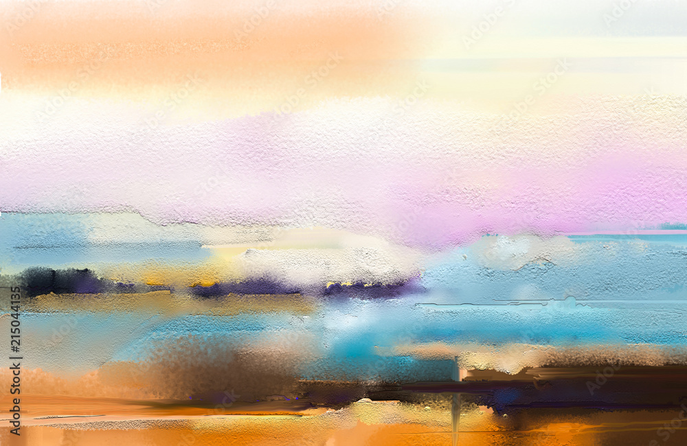 Fototapeta Abstract colorful oil painting on canvas texture. Hand drawn brush stroke, oil color paintings background. Modern art oil paintings with yellow, red color. Abstract contemporary art for background