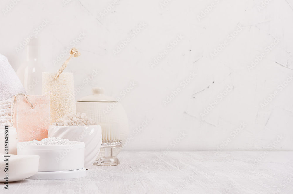 Fototapeta Luxury organic body and skin care spa light cosmetics collection and natural bath accessories on white wood background.
