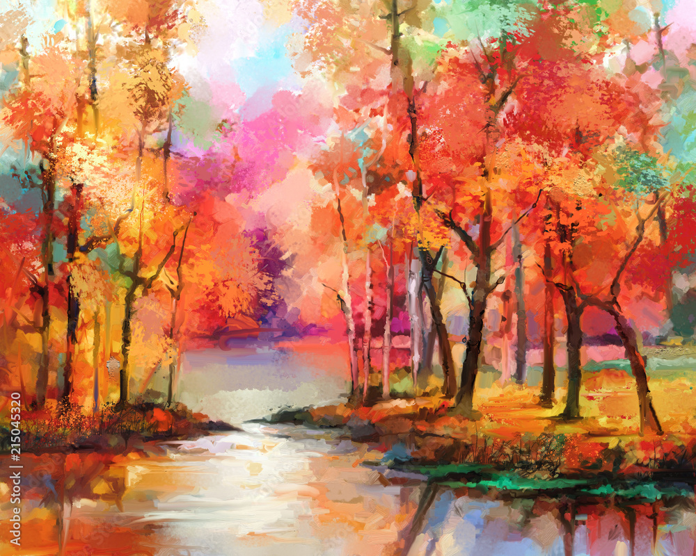 Fototapety, obrazy: Oil painting colorful autumn trees. Semi abstract image of forest, aspen trees with yellow - red leaf and lake. Autumn, Fall season nature background. Hand Painted Impressionist, outdoor landscape
