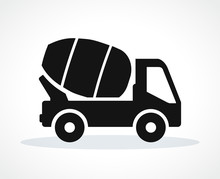 Vector Cement Truck Black Icon
