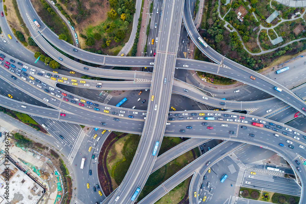 Fototapeta Aerial view of a massive highway intersection
