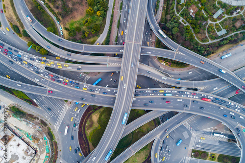 Fotografie, Tablou Aerial view of a massive highway intersection
