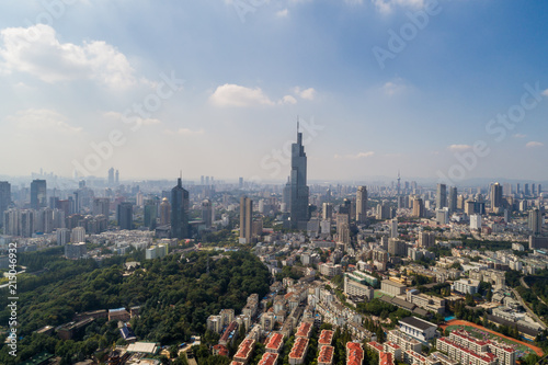 Aluminium Prints New Zealand Aerial view over the Nanjing city, urban architectural landscape