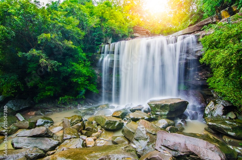 Montage in der Fensternische Wasserfalle Tung Na Muang waterfall, The beautiful waterfall in deep forest during raining season at Tung Na Muang Park, Ubon Ratchathani province, Thailand.