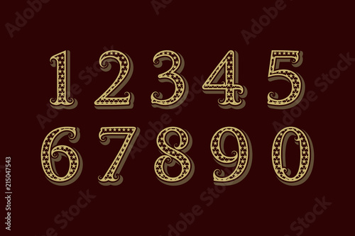 Starry patterned vintage numbers in old english style  - Buy this