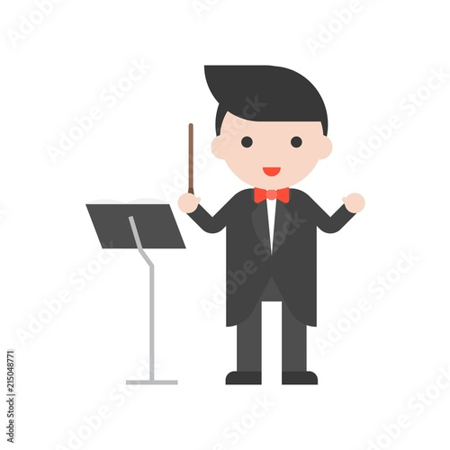 Photo Band master and music stand, Set Profession character of people in uniform, flat