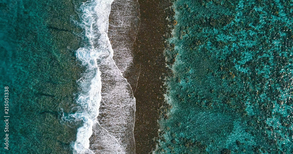 Fototapeta aerial view of a coral reef in a pacific lagoon