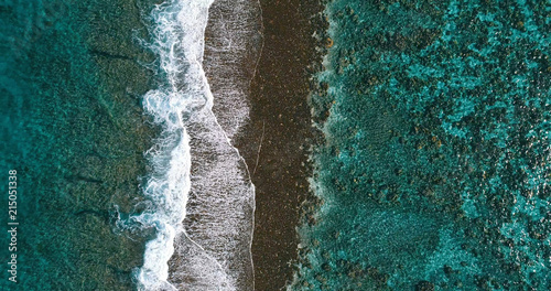 aerial view of a coral reef in a pacific lagoon