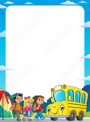 Deurstickers Voor kinderen Children by school bus theme frame 1
