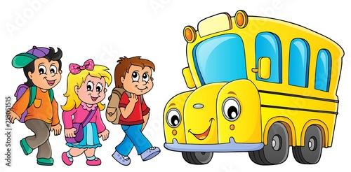 Poster Voor kinderen Children by school bus theme image 1