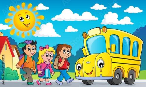 Deurstickers Voor kinderen Children by school bus theme image 2