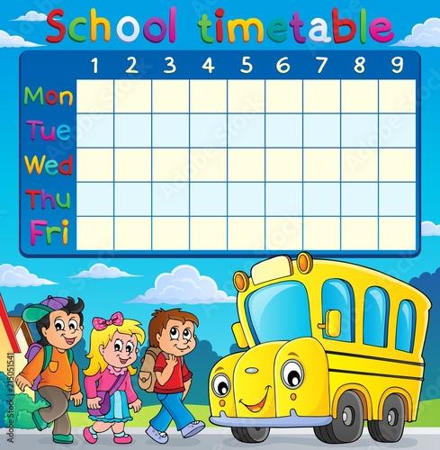 Foto op Plexiglas Voor kinderen School timetable with children and bus