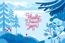 Vector Illustration - Happy New Year And Christmas Holidays - Winter Landscape