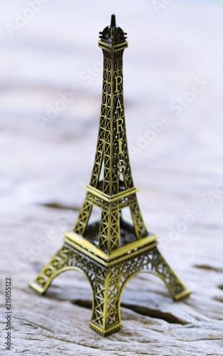 Deurstickers Eiffeltoren Eiffel decoration closeup blur background