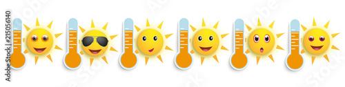 Fototapeta Funny Sun Face Smileys Weather Icons Header