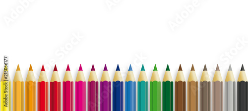 Colored Pencils White Paper Header Fototapeta