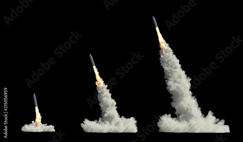 ballistic launch rocket isolated on black Canvas Print