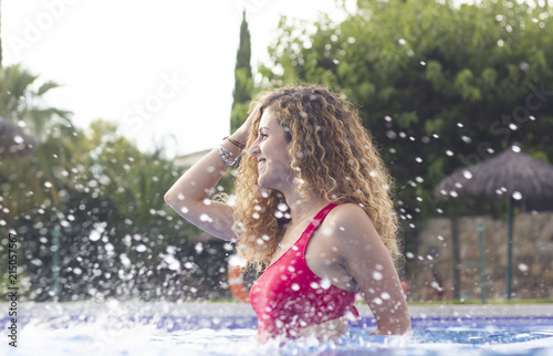 Young woman at swimming pool