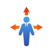 Icono Plano Hombre Con Tres Flechas En Azul Y Naranja