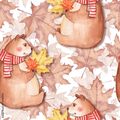 Valokuva  Seamless pattern with leaves and bears. Watercolor painting