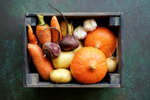Set Of Autumn Vegetables In Wo...