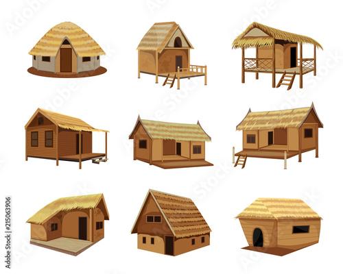 straw hut vector design Poster Mural XXL