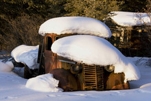 Old Truck, Rusted And Covered In Snow, Lower Laberge Village, Yukon Territory, Canada, North America