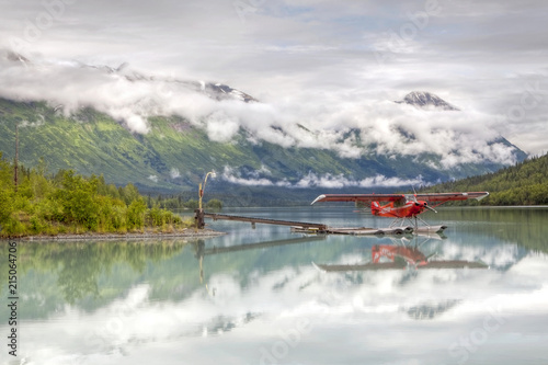 Poster Bergen Seaplane on Lake Trail in the Kenai Mountains, Kenai Peninsula, Alaska, USA, PublicGround, North America