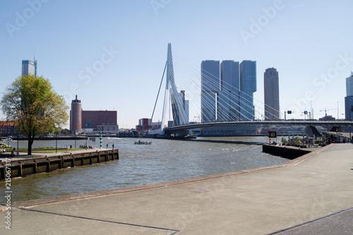 Fotobehang Rotterdam Rotterdam skyline from Erasmus Bridge.