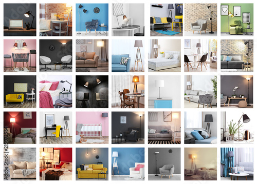 Valokuva  Collection of different room interiors with modern furniture and lamps