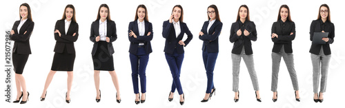 Obraz na plátně Set with young woman in stylish suits on white background