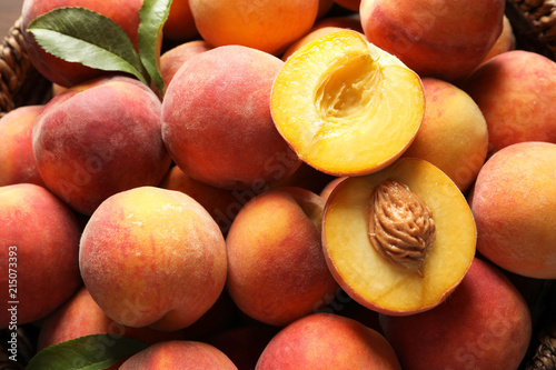 Fresh sweet ripe peaches as background - 215073393
