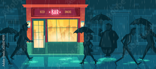 Vector cartoon illustration with bar at bad weather Canvas Print