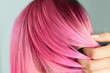 Leinwanddruck Bild - Woman with color dyed hair, close up view. Trendy hairstyle