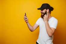Cheerful Bearded Hipster Man T...