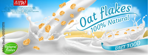 Photo  Vector realistic promotion banner of oat flakes in milk or yogurt splashes