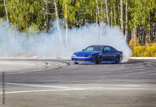 Foto car drifting on speed track