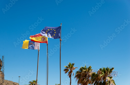 Tuinposter Canarische Eilanden Canarias islands/ Spain-July 22, 2018: View from distance of tree flags of Spain, Europe Union and Canarias islands on blue sky and palms leaves background.