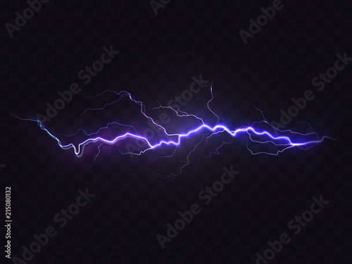 Vector realistic lightning isolated on black background Wallpaper Mural