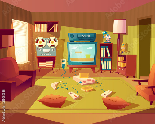 vector illustration of cartoon living room at 80s 90s video games rh stock adobe com Living Room Television Living Room TV Ideas