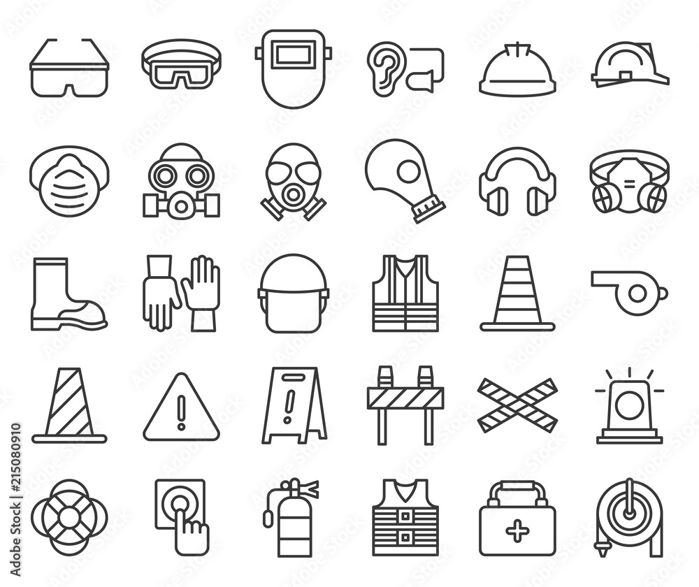 Fototapeta protective equipment and firefighter  outline icon