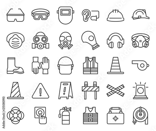 Fototapeta protective equipment and firefighter  outline icon obraz