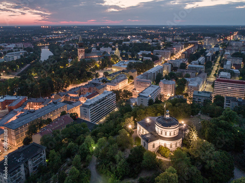 Poster Texas Aerial view of the old observatory building on vartiovuori hill with Turku Cathedral in the background at summer morning in Turku, Finland